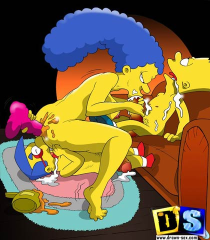 Marge have sex with Bart and Milhouse